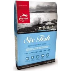 ORIJEN SIX FISH DOG 85.15 (ОРИДЖЕН ШЕСТЬ РЫБ ДОГ) – гипоаллергенный сухой корм для взрослых собак и щенков всех пород